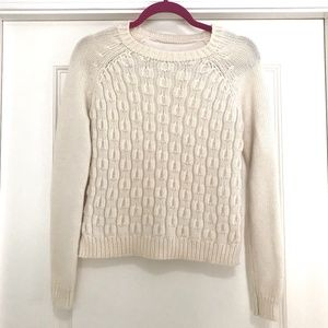 Cable Knit Sweater with Solid Fabric Back